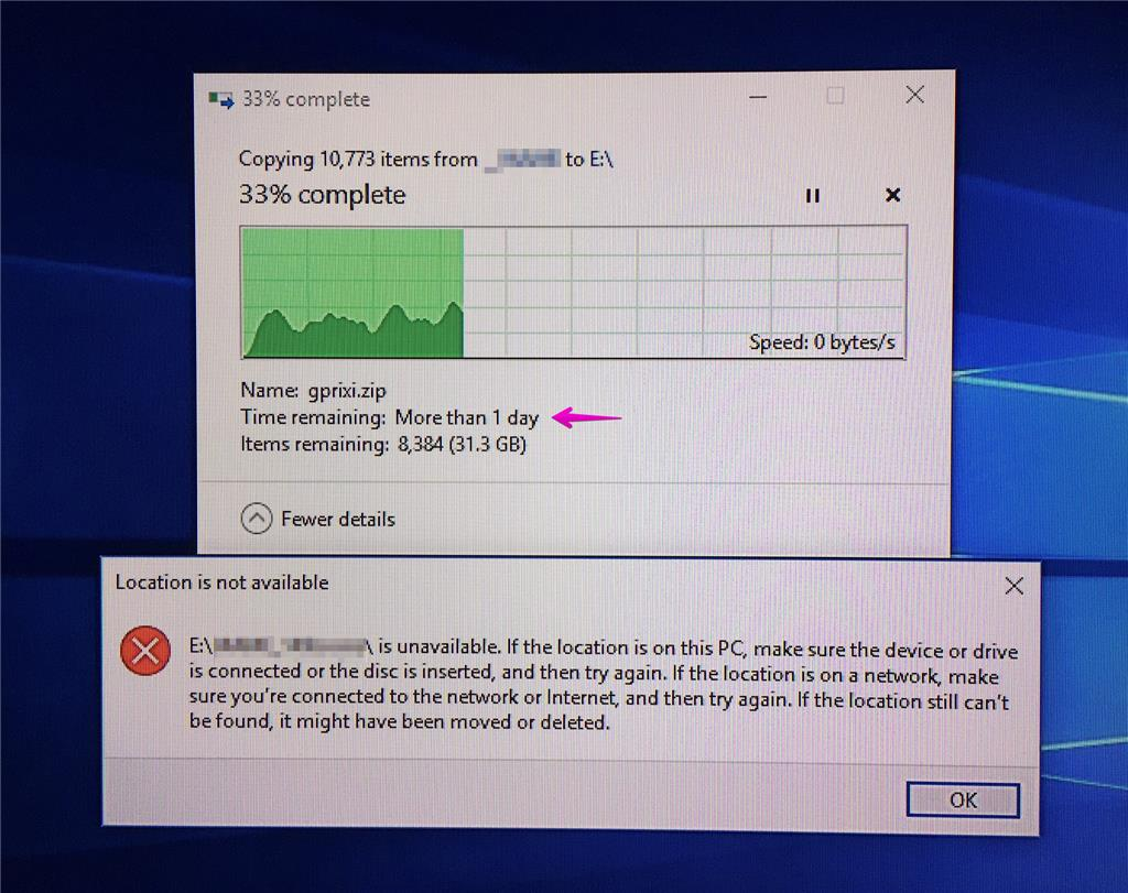 Copying files VERY slow, speed drops to zero, even on USB 3