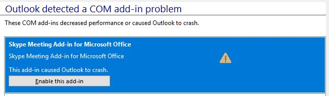 Skype for Business Add-In crashing Outlook when calendar meeting is