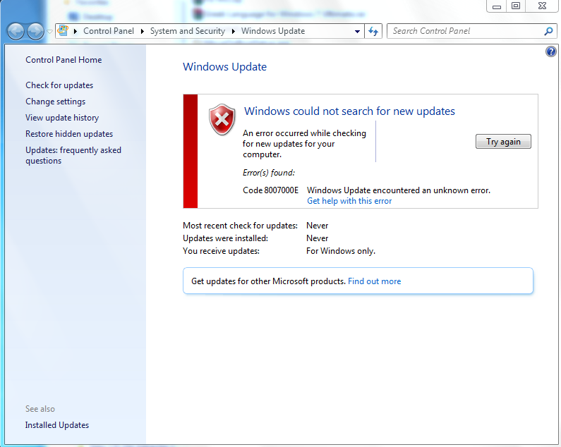 have updates for windows 7 stopped