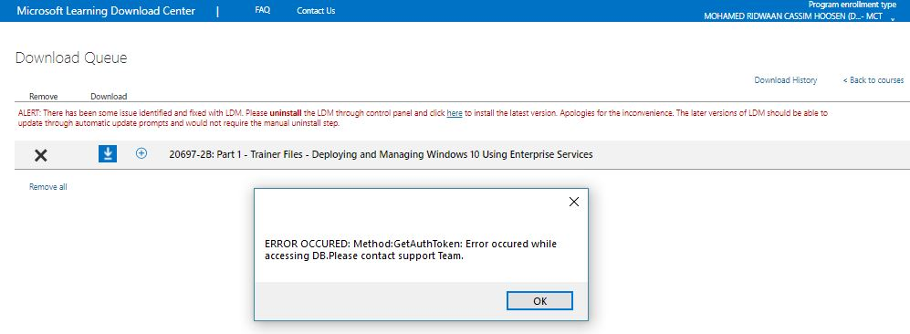 Error Microsoft Learning Download Site Training Certification