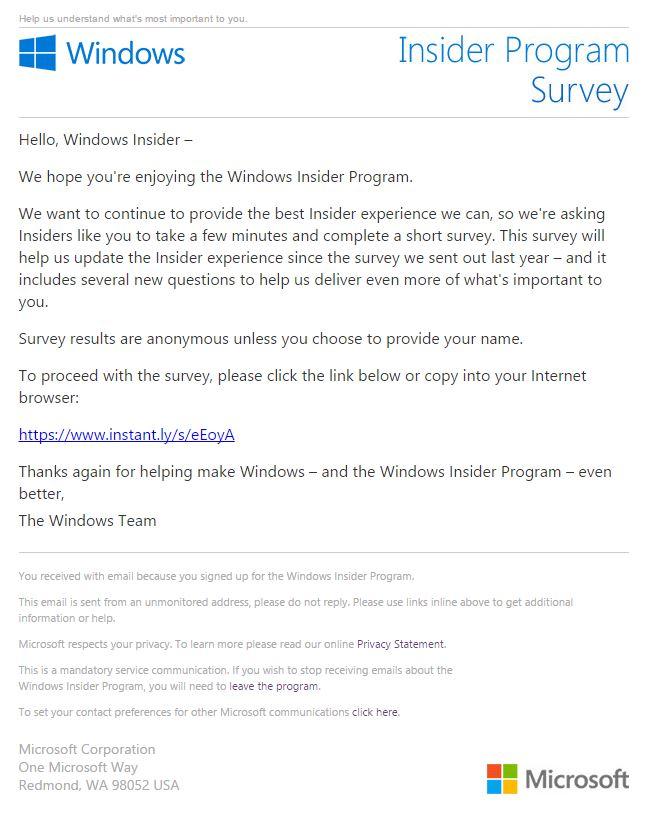 is this windows insider program survey email legitimate
