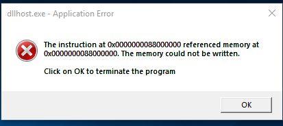 dllhost.exe application error memory could not be written error