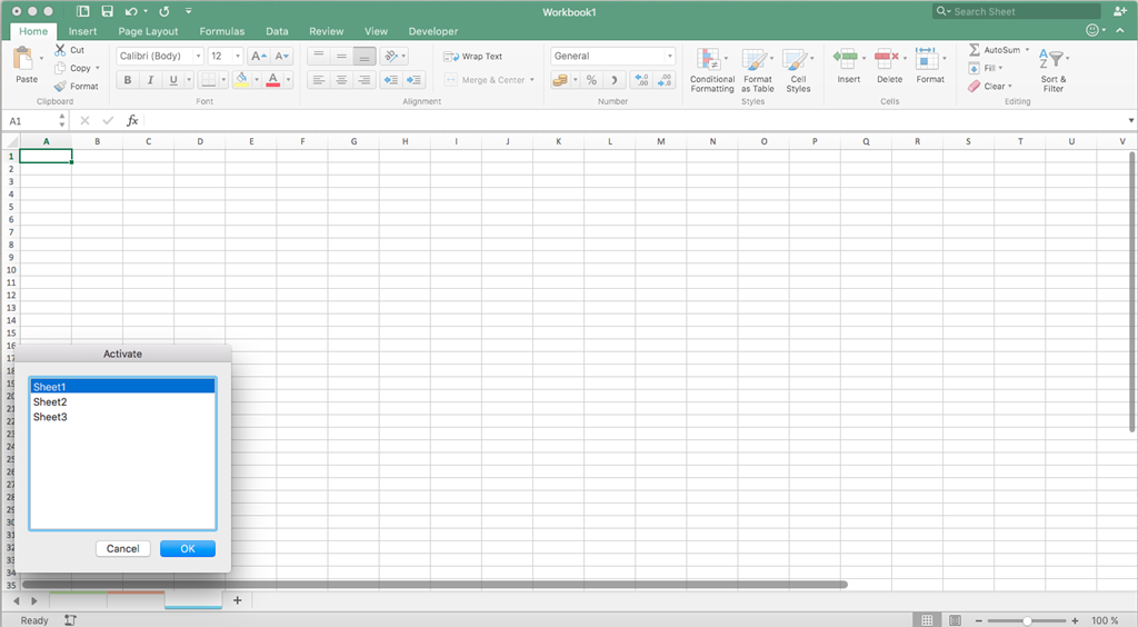 Sheet names in Excel 2016 for Mac appear blank - Microsoft