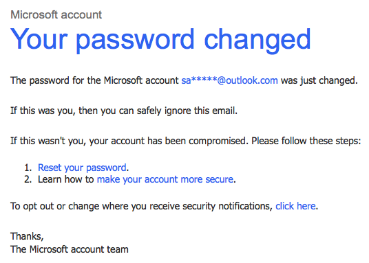 Your Password has Been Changed - Microsoft Community