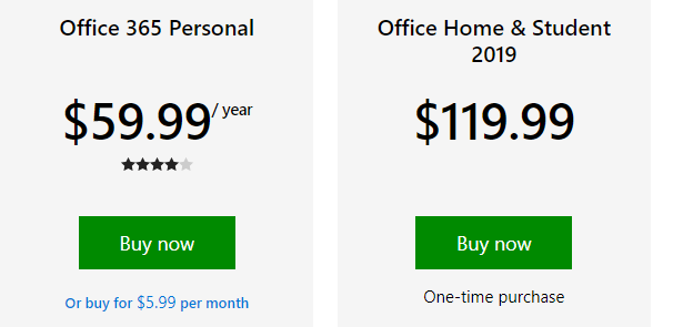 microsoft office home & student 2019 one-time purchase