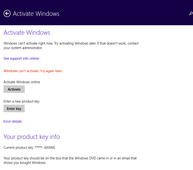 windows cant activate try again later windows 8.1