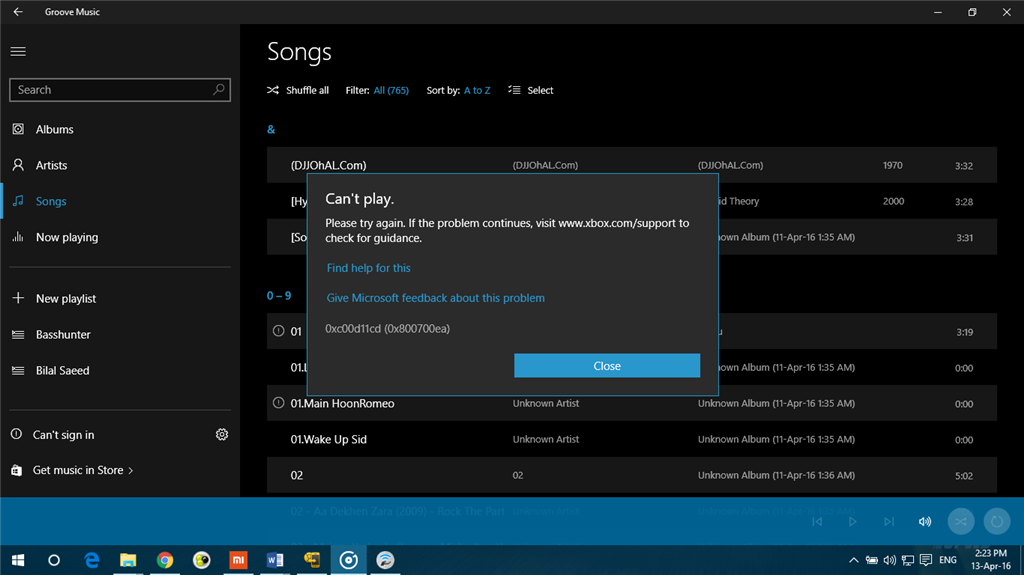 Groove music 'Can't Play' error - Microsoft Community