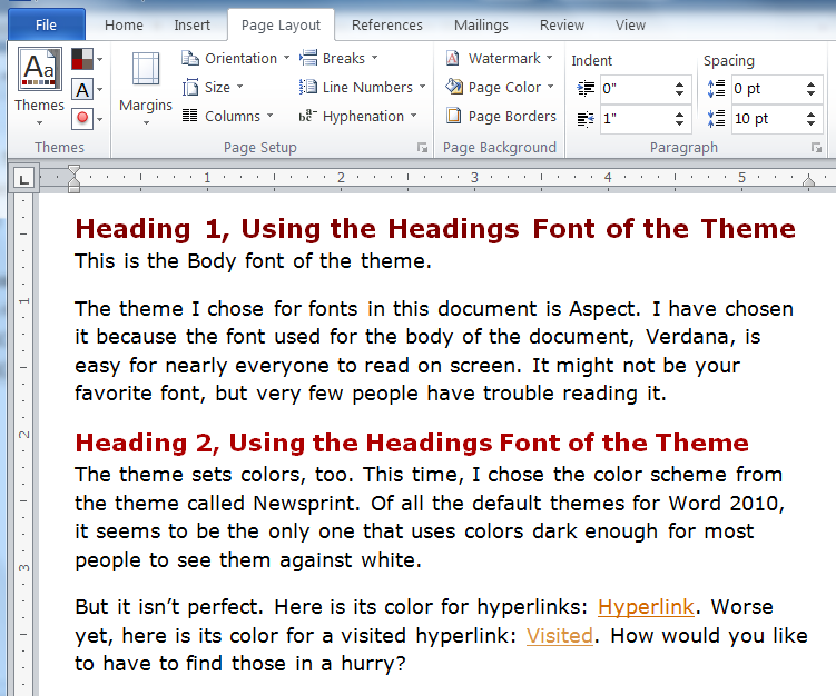 how to set default theme font in word 2010