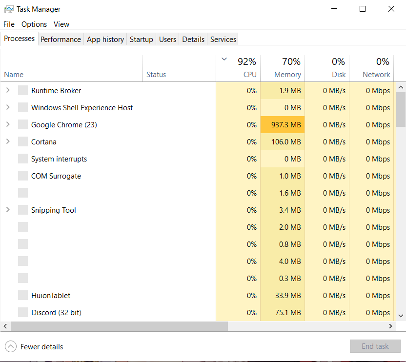 Windows Shell Experience Host and Runtime Broker spiking CPU usage