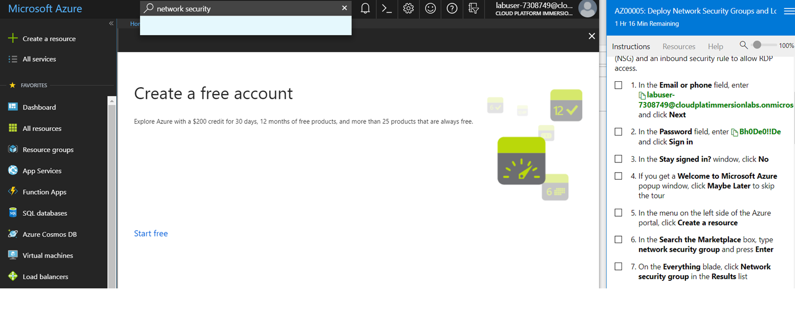 Microsoft Hands On Labs Azure Asking To Create Free Subscription