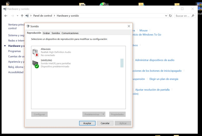 hdmi no transmite audio windows 10