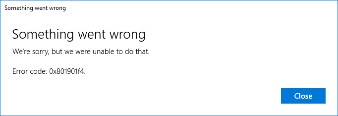 Windows 10 Error Code 0x801901f4