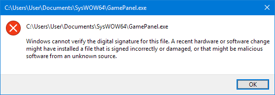 Error: Windows cannot verify the digital signature for this file