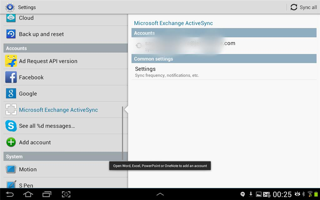 Outlook app on Android -