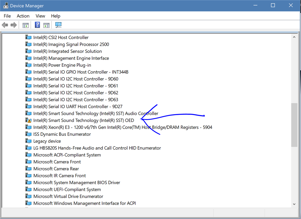 intel smart sound technology driver issue