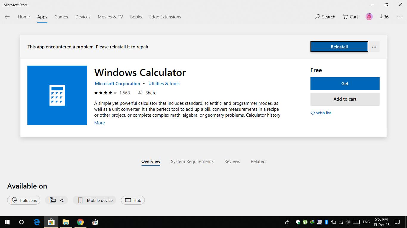 cant open windows 10 calculator