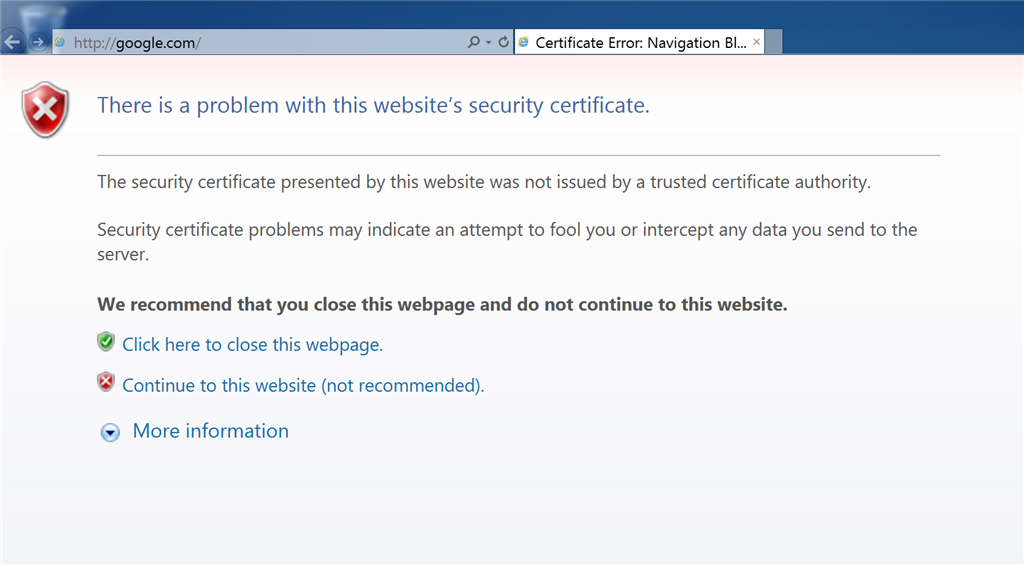 Certificate Error In Ie11 Microsoft Community