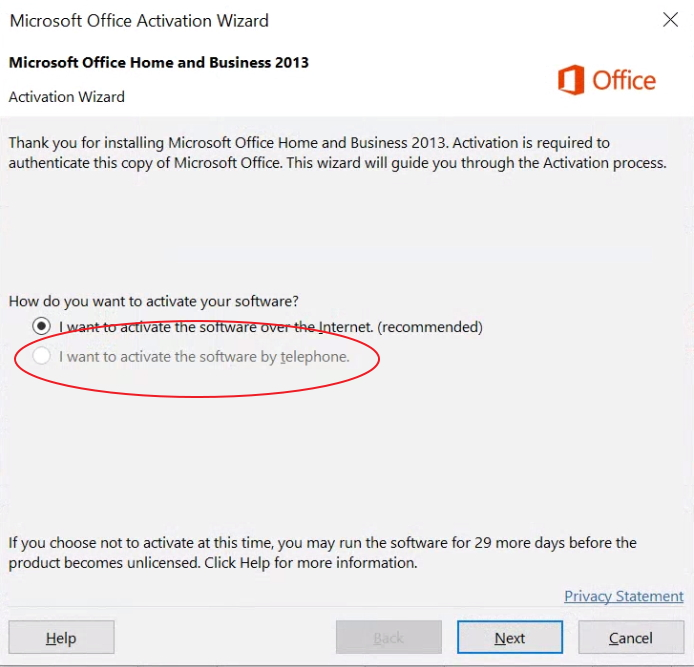 office phone activation no longer supported