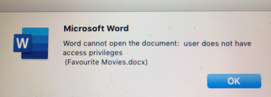 Additional permissions are required to access the files (Word for