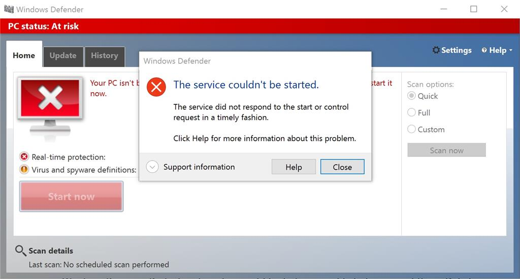 i can t turn on windows defender