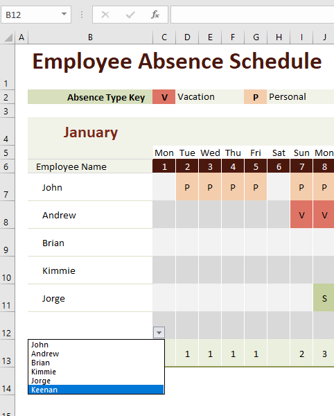 Excel Template - Employee Absence Schedule - Microsoft Community