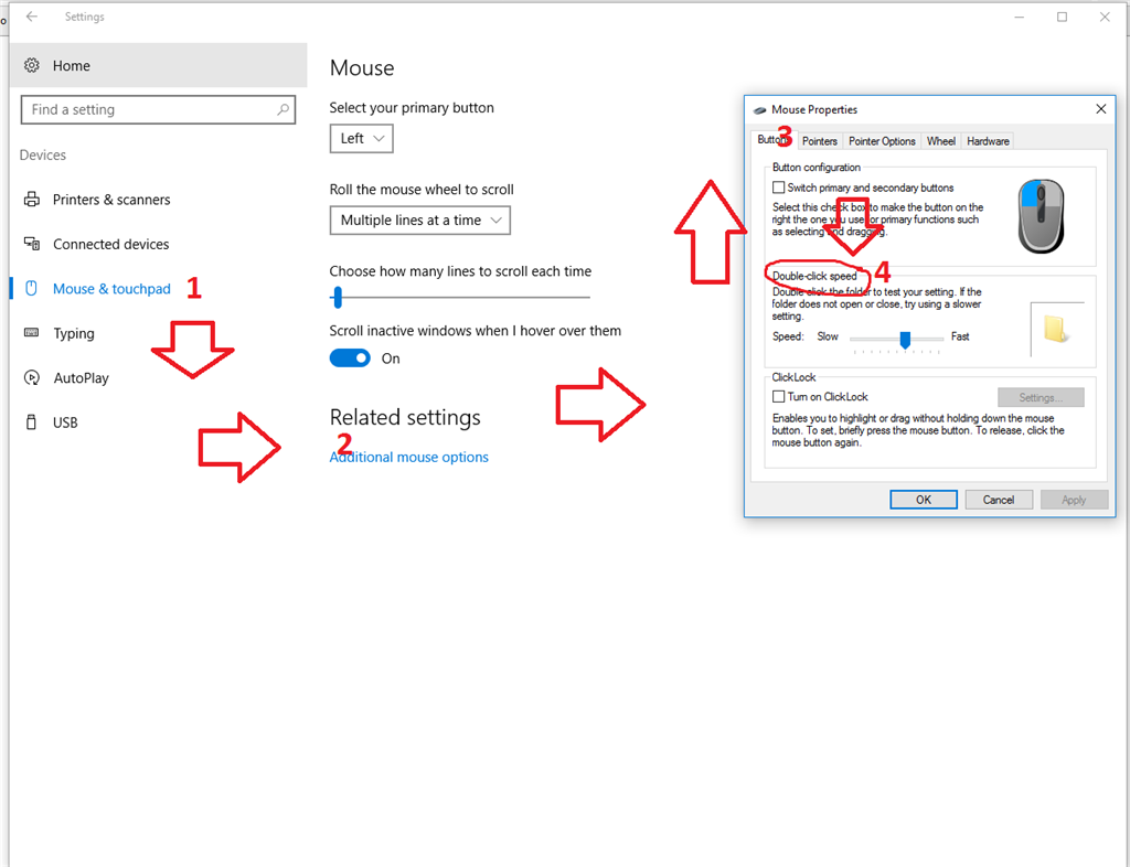 Can't find the click delay setting for Windows 10 installed