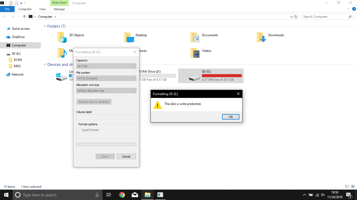 Error: The disk is write protected, while accessing SD card