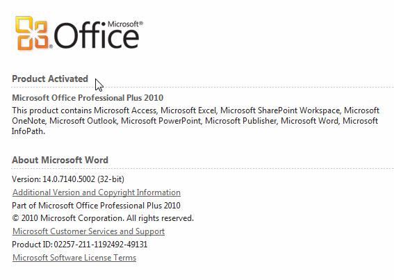 microsoft office professional plus 2010 phone activation key
