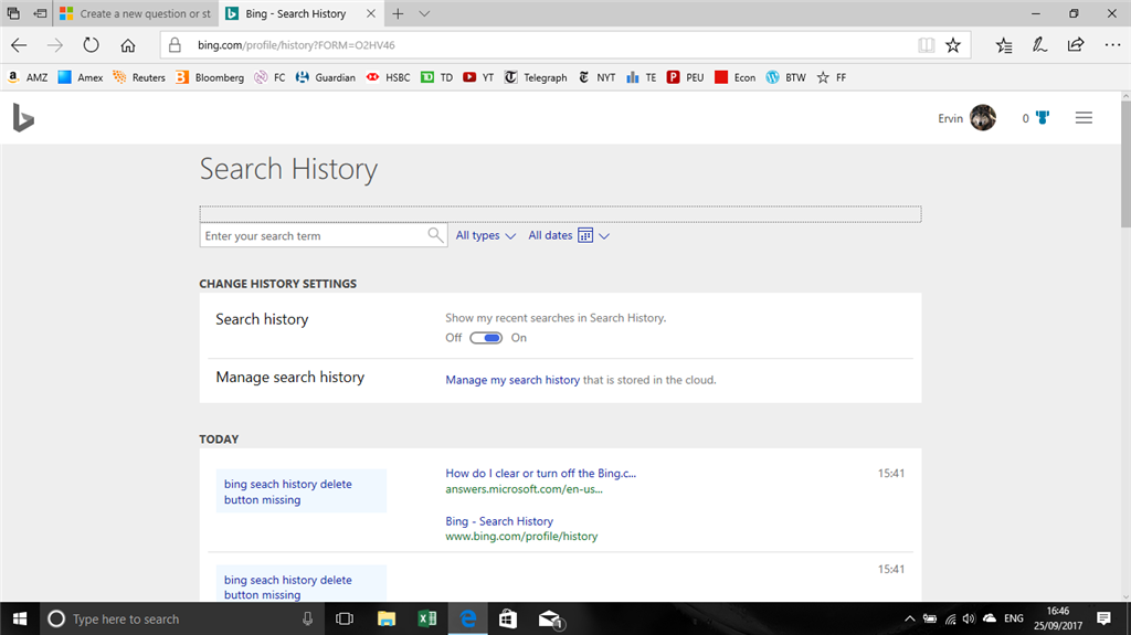 Clear Bing Search History - Microsoft Community