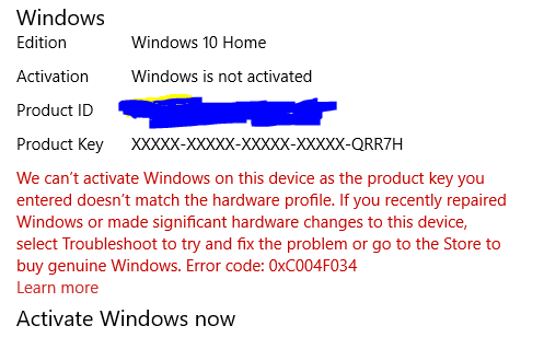 Windows 10 activation issues microsoft community i have neither made any recent hardware changes nor reset my windows ccuart Choice Image