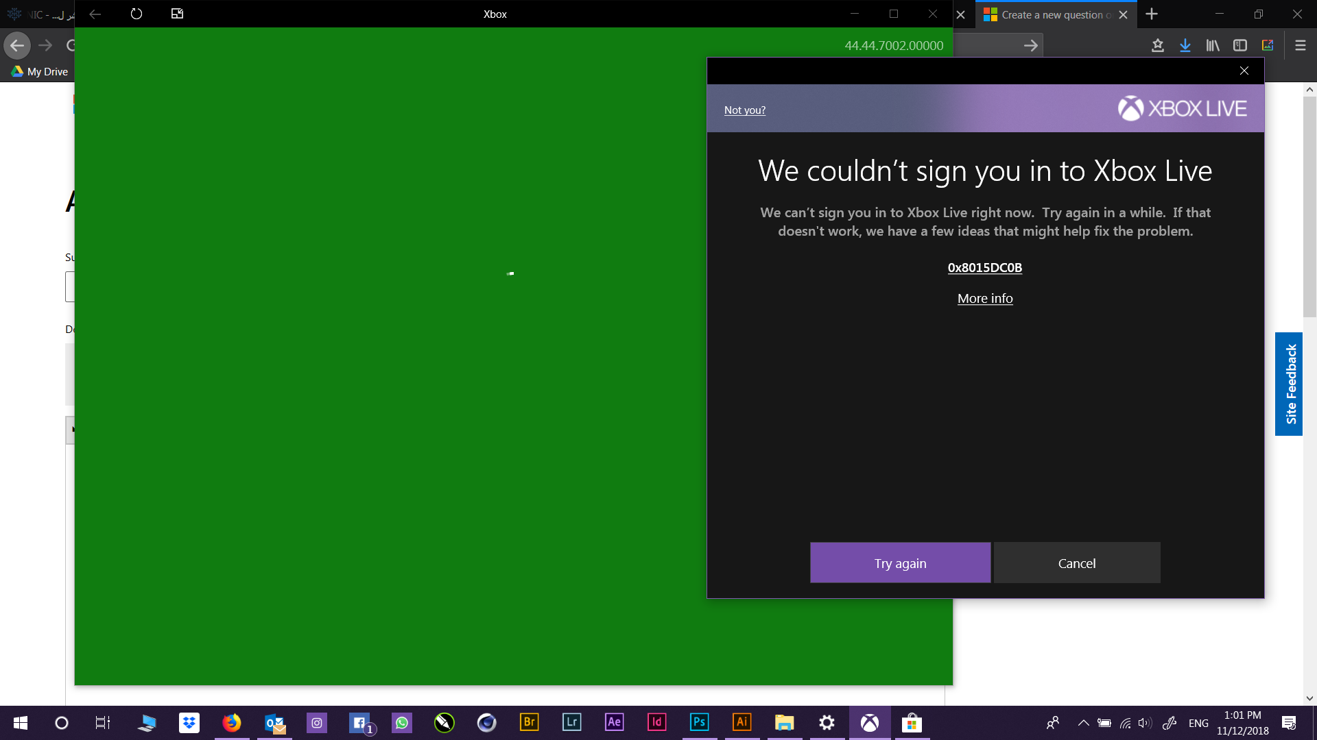 Cant sign in to Xbox App on windows 10
