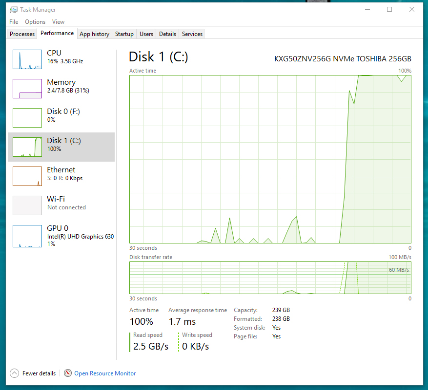 Toshiba XG5 512GB experiencing slow write speeds after update