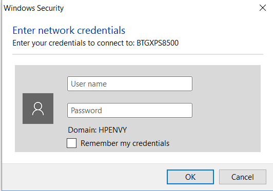 Windows Security Pop Up For Network Credentials