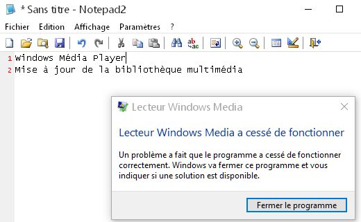 windows media player plante