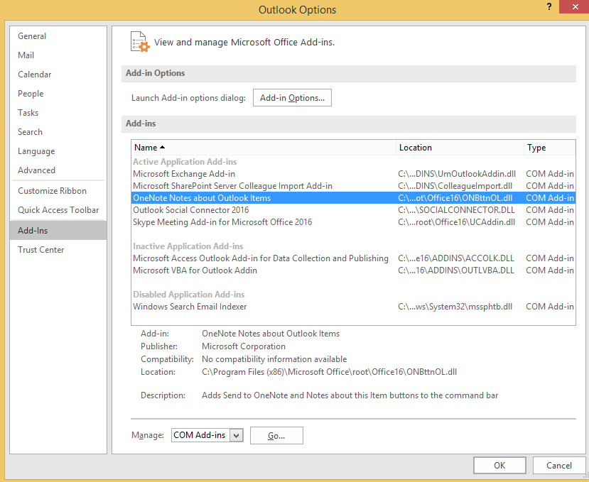 send to onenote not appearing in outlook 2016 - Microsoft Community