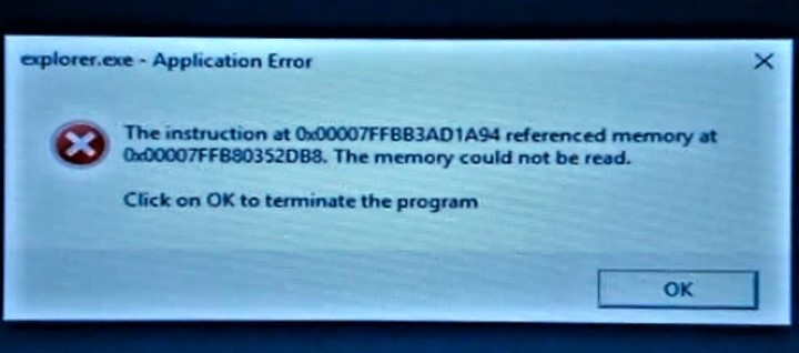 Windows Explorer Cannot Read Referenced Memory Microsoft Community