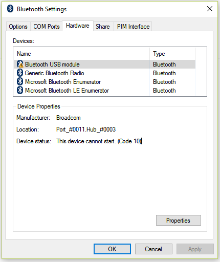 Bluetooth USB Module - Code 10