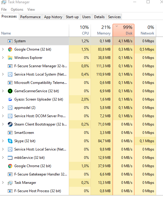 System is taking 99% of disk - Microsoft Community