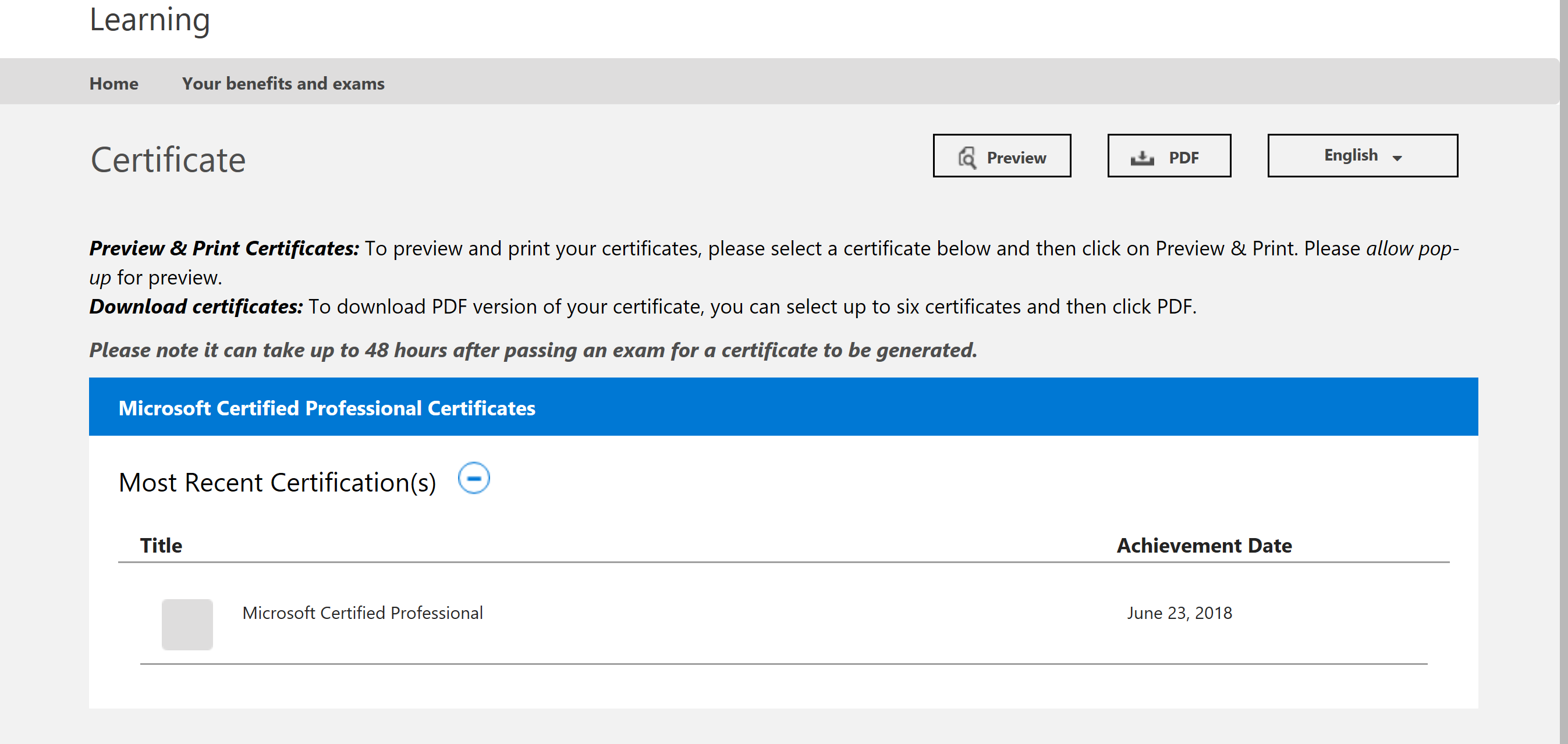 Only 1 Microsoft Certified Professional Certification Is Showing
