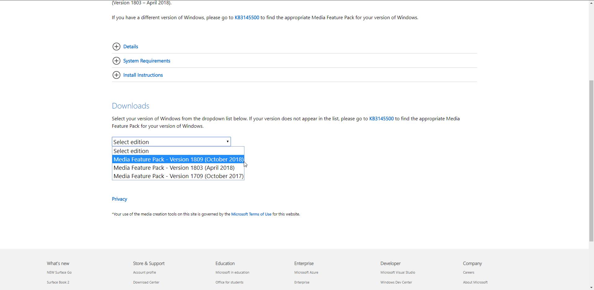 Media Feature Pack para Windows 10 N actualización de