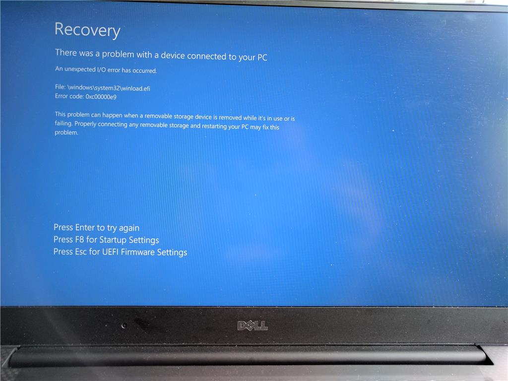 BSOD on startup with code 0xc00000e9 with Dell XPS 15 9560