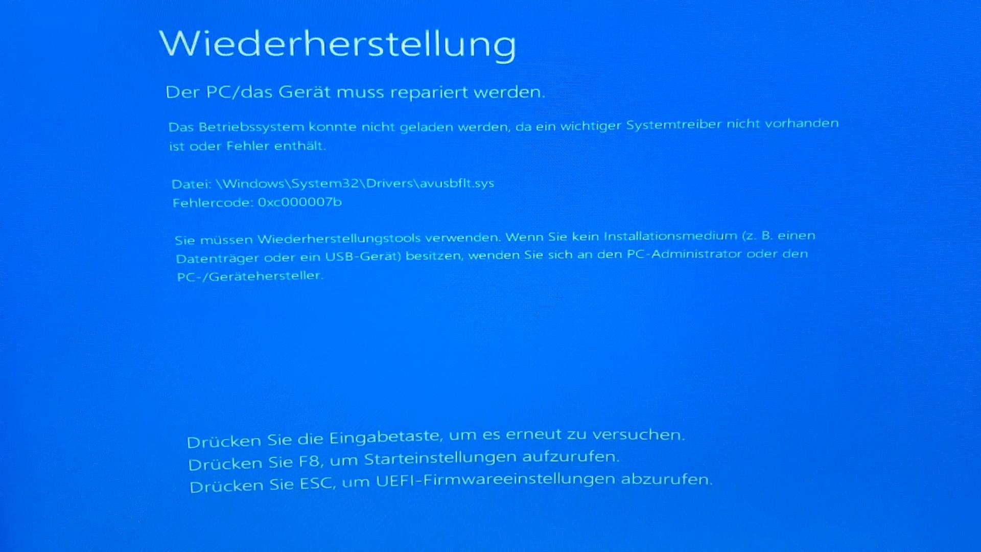 Fehler beim Start von Windows (0xc000007b)