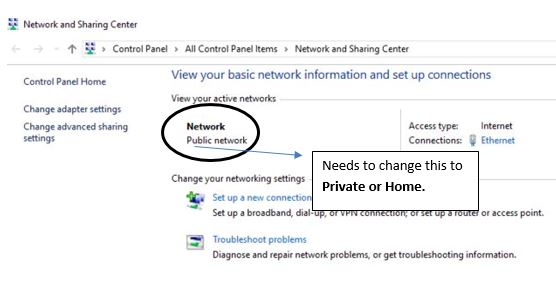 change public to home network windows 10