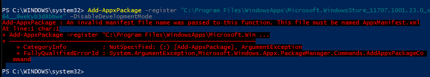 error code 0x80073d0d on the windows store trying to
