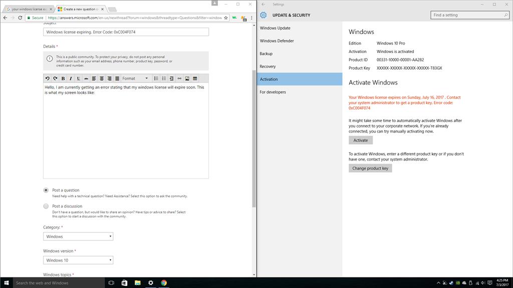 windows 10 product key error code 0xc004f074