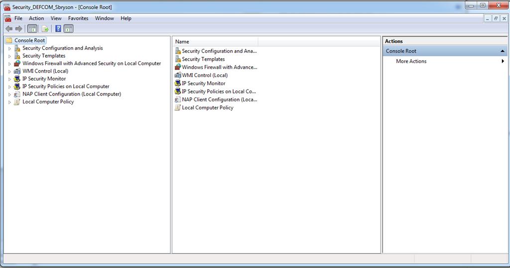 microsoft windows os security settings using microsoft mmc