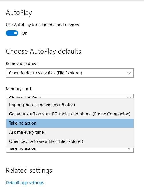 Change Setting for Imprting Pictures in Windows 10