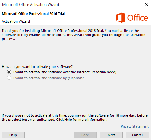 ms office 2016 activation failed