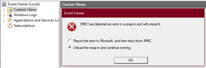 Event viewer : error when creating custom view - Microsoft