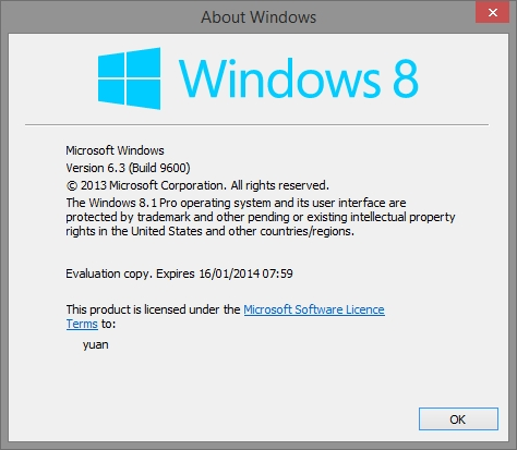 windows 8.1 build 9600 showing on desktop